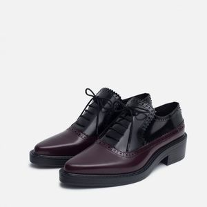 Zara Combined Black/Red Leather Lace up Brogues